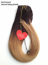 Ombre Remy Hair Extension Clip in Black Brown Blonde Caramel Red Thick Full Head