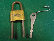 VINTAGE FRAIM PADDLE KEY BRASS PADLOCK w/STRETCHERS     (5105-190)