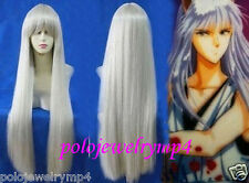 New Cosplay inuyasha kurama Long Silver White Straight Wig