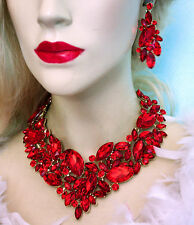 Red Rhinestone Austrian Crystal Choker Necklace Earring Set Pageant Prom Bridal