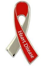 Heart Disease Pin Silver and Red Ribbon w/ Lettering Awareness Month February