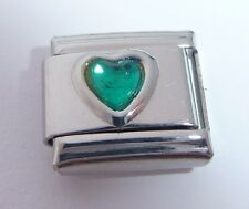 GREEN HEART GEM Italian Charm - Love May Birthstone 9mm fits Classic Bracelets