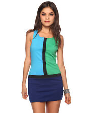 Forever 21 Navy Turquoise Blue Green Colorblock Retro Mod Shift Sheath Dress M