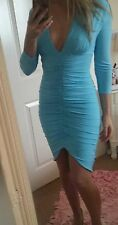Bnwt progress sexy sky blue size 10 ruched mini dress long sleeve party summer