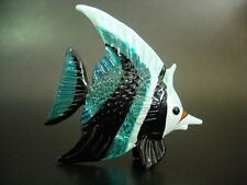 Glass FISH Black White & Turquoise Painted Glass Ornament Tropical Aquarium Gift