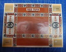 Red Tips Perfectos Cigar Box Label - UNUSED. Never Mounted to Cigar Box.