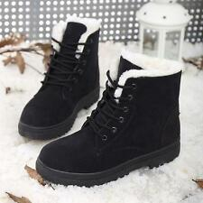 NEW LADY WOMEN LACE UP COLLAR FUR LINED WINTER WARM FLAT ANKLE BOOTS SIZE Hot
