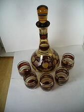 Bohemia Czechoslovakia Crystal Decanter Set Amber