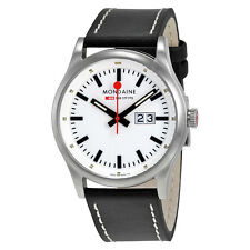 Mondaine Sport Night Vision White Dial Black Leather Mens Watch A669.30308.16SBB