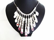 Stunning Chunky Drop V Multi Disks Silver STaTemenT Necklace LaGeNLooK JeWeLLeRy