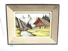 ancien tableau en bois sculpté scène de montagne signé A . CHAYSEL