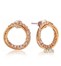 Women Yellow Gold /Rose Gold Round Crystal Stud earrings MK131US1