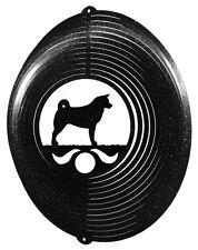 Akita Dog BLACK Metal Swirly Sphere Wind Spinner *NEW*