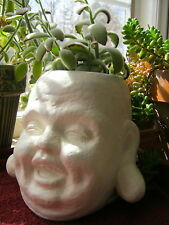 Laughing Buddha Head Planter, White Concrete Plant Pot, Cement Garden Decor