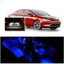 For Chrysler 200 2015-2016 Blue LED Interior Kit + Xenon White License Light LED