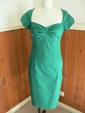 PRE LOVED LADIES SIZE 10 BASQUE EMERALD GREEN FITTED PENCIL DRESS VINTAGE STYLE