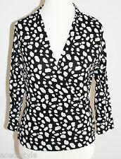 Esprit Damen Wickelbluse langarm Shirt Gr. S / 36 leicht schwarz weiß NEU