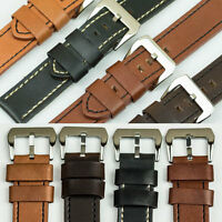 QUALITY VINTAGE CALF LEATHER thick watch strap band 18mm-24mm black tan brown