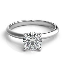 1 Carat Diamond 14K White Gold Solitaire Engagement Anniversary Promise Ring