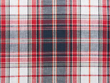 2½ Yards, Plaid Fabric. Madras Cotton. Red, Navy, White, Woven Tartan