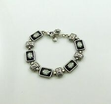 NEW Brighton Silver Black White Flower Bracelet Carved Lucite Reversible Retired