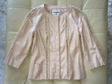 NEW 6K GORGEOUS CHANEL 09P BLUSH PINK BEIGE LEATHER JACKET 40