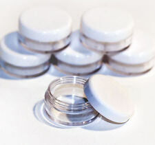 50 x 5ml **BEST QUALITY** CLEAR PLASTIC SAMPLE JARS/POTS Glitter/Cream jdw-50