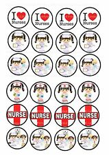 24 icing cake toppers decorations  I love nurses day appreciation ND1