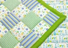 NEWLY HANDMADE, BLUE & GREEN PATCHES, 35X43in BOYS, BABY/TODDLER FLANNEL QUILT