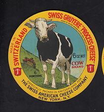 Ancienne  étiquette Fromage  Suisse   BN10326  Gruyère Vache New York 1
