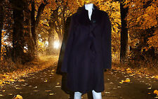 NWT LADIES DKNY CASCADING RUFFLE DARK PURPLE WOOL BLEND COAT SZ- 6