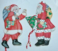 2 Wooden Christmas Santa Clause Ornament Decoration Pull String Terrie Floyd