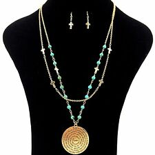 Padre nuestro Our Father Prayer Medallion Turquoise Cross Beaded Necklace Set