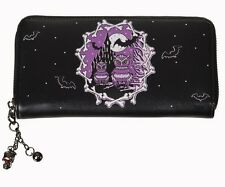 Banned Horror Castle Wallet Owl Bat Skulls Halloween Bones Purse Black Purple