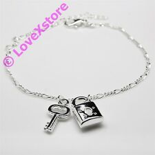 925 Sterling .925 Silver Plated Key & Lock Chain Anklet Charm Anklets pc