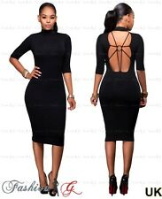 Ladies Womens Midi Dress Pencil Black Celeb Party Bodycon Evening New Size 8 10.