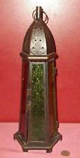 Vintage LIGHTHOUSE Style CANDLE HOLDER Black Metal with Faux Stain Glass Inserts