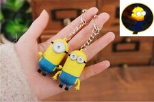 2 PCS New Minions Sound And Led Flashing Light  Keyring Movie Character Figure