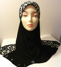 Black One Piece Slip-On Leopard Zebra Pattren Muslim Hijab Head Wear Cover Scarf