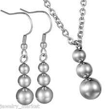1Set JM Womens Stainless Steel Earrings With Necklace Beads Jewelry B100255