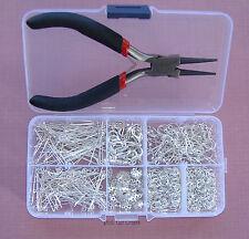 La fabricación de joyas Starter Kit con alicates y Caja de almacenamiento Plateado Plata