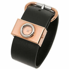 Marc Jacobs MBM1406 Women's Viv Wide Black Leather Band Rose Gold Tone Watch