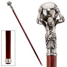 Elegant Titan of Astronomy Solid Pewter Polished Hardwood Cane Walking Stick
