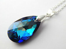 925 Silver Swarovski Elements Crystal DROP 22mm  Pendant Necklace Bermuda Blue