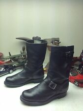 DISTRESSED VINTAGE USA  BLACK LEATHER ENGINEER MOTORCYCLE ROAD BOSS BOOTS 8.5 E