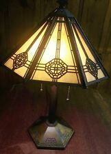Antique Bradley & Hubbard Handel Slag Glass Table Lamp  Marked B&H 256 in base