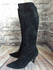 Ladies Luciano Barachini Black Suede Mid Heel Zip Up Long Boots Size EU 41