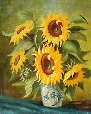 Franz Schrudde 1886-1972 Eslohe / Gemälde / Stillleben mit Sonnenblumen in Krug