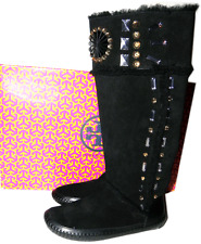 Tory Burch Shearling Fur Lined Embelished Crystals Boot Snow Black Bootie 5- 35