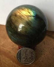 UK NEW NATURAL LABRADORITE SPHERE BALL CRYSTAL STONE + STAND NO2
